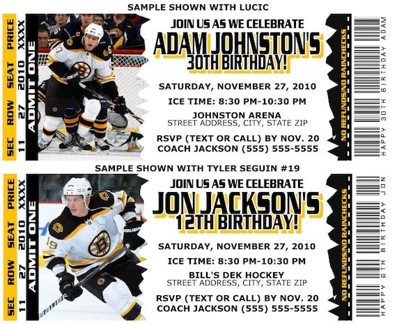Printable Birthday Party Invitation Card Boston Bruins Etsy 30th Ideas
