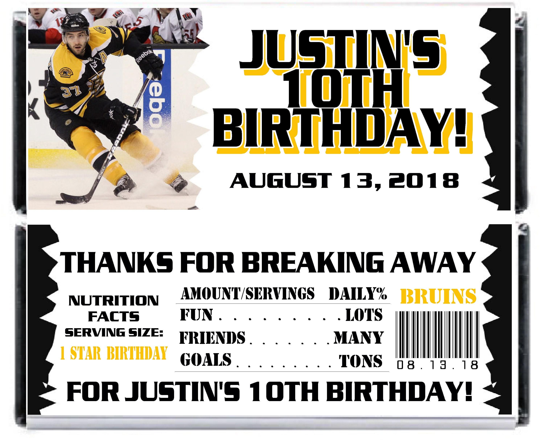 Printable Hockey Birthday Candy Bar Wrappers 1 55 Oz Etsy