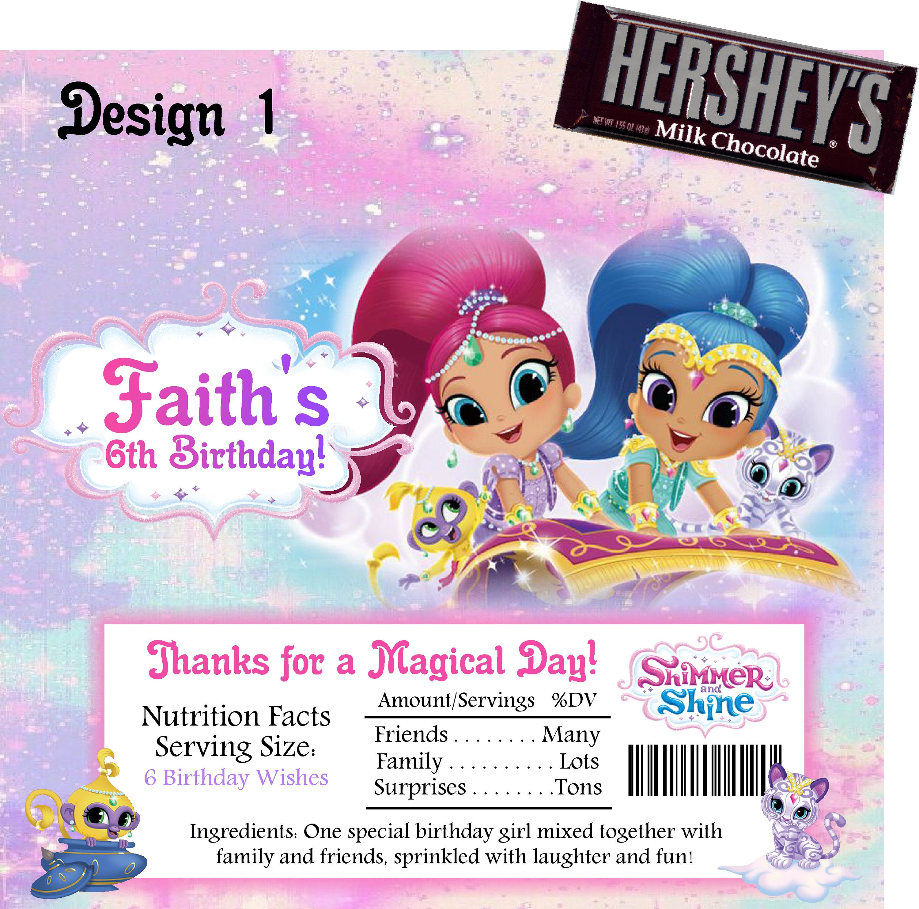 Printable Shimmer and Shine Candy Bar Wrappers Fits 1.55 Oz