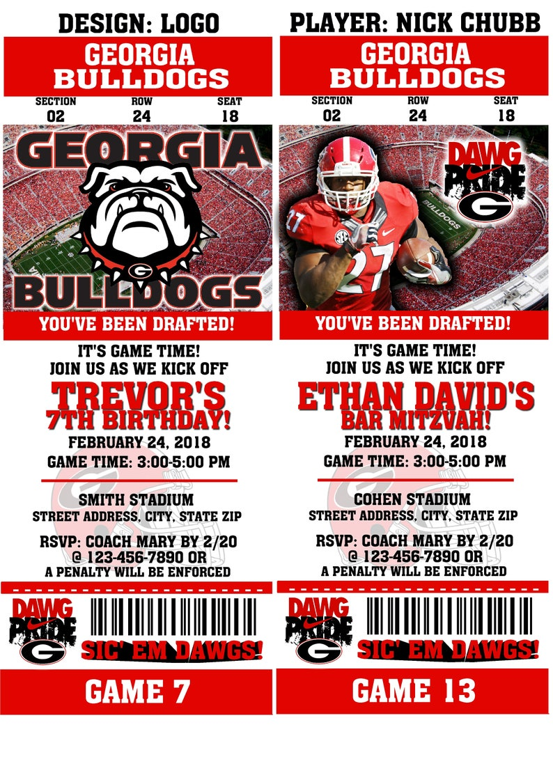 picture about College Football Pick'em Printable Sheets called Printable Ga Bulldogs School Soccer Birthday Bash Invitation NCAA Ticket Invitation Boy or girl Shower Invites