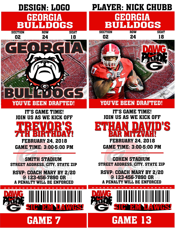 Printable Georgia Bulldogs College Football Birthday Party | Etsy