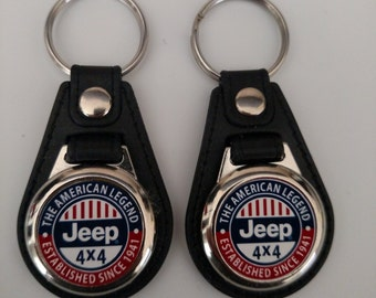 Jeep keychain fobs 2 PACK red white and blue