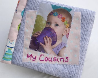 Cuddle Book Greys Pinks Personalised Cloth Etsy