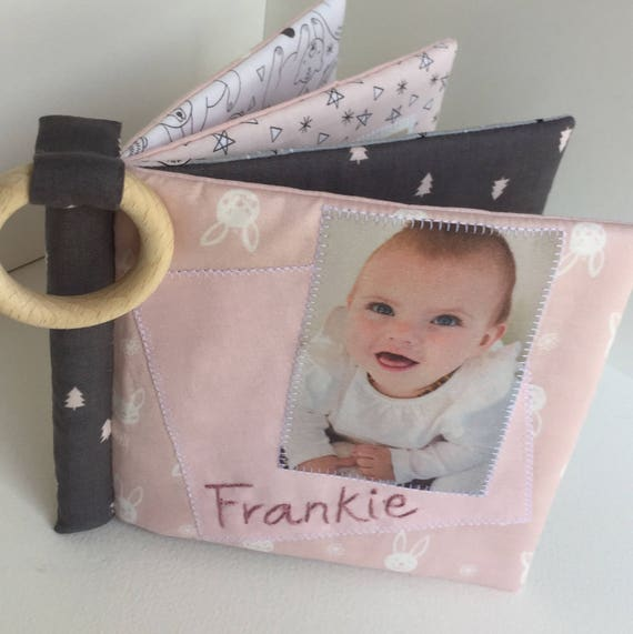 Cuddle Book Pinks Greys Personalised Cloth Etsy