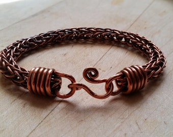Hand Woven Copper Trichinopoly Chain (Viking Weave) Bracelet