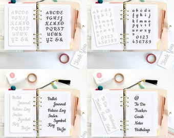 4 BULLET JOURNAL STENCILS Planner Stencil Fits any Planner Cursive Letter Calligraphy Alphabet bujo starter kit agenda accessories • Set 04A