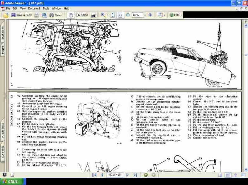 TRIUMPH TR7 TR8 PARTS MANUAL & Tr 7 8 Workshop Manual 775pg+ Blueprints  Brochure