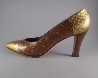 ad9b59742ef9 Vintage 1980s BRUNO MAGLI Italy Gold Leaf Embossed Leather Pumps Shoes