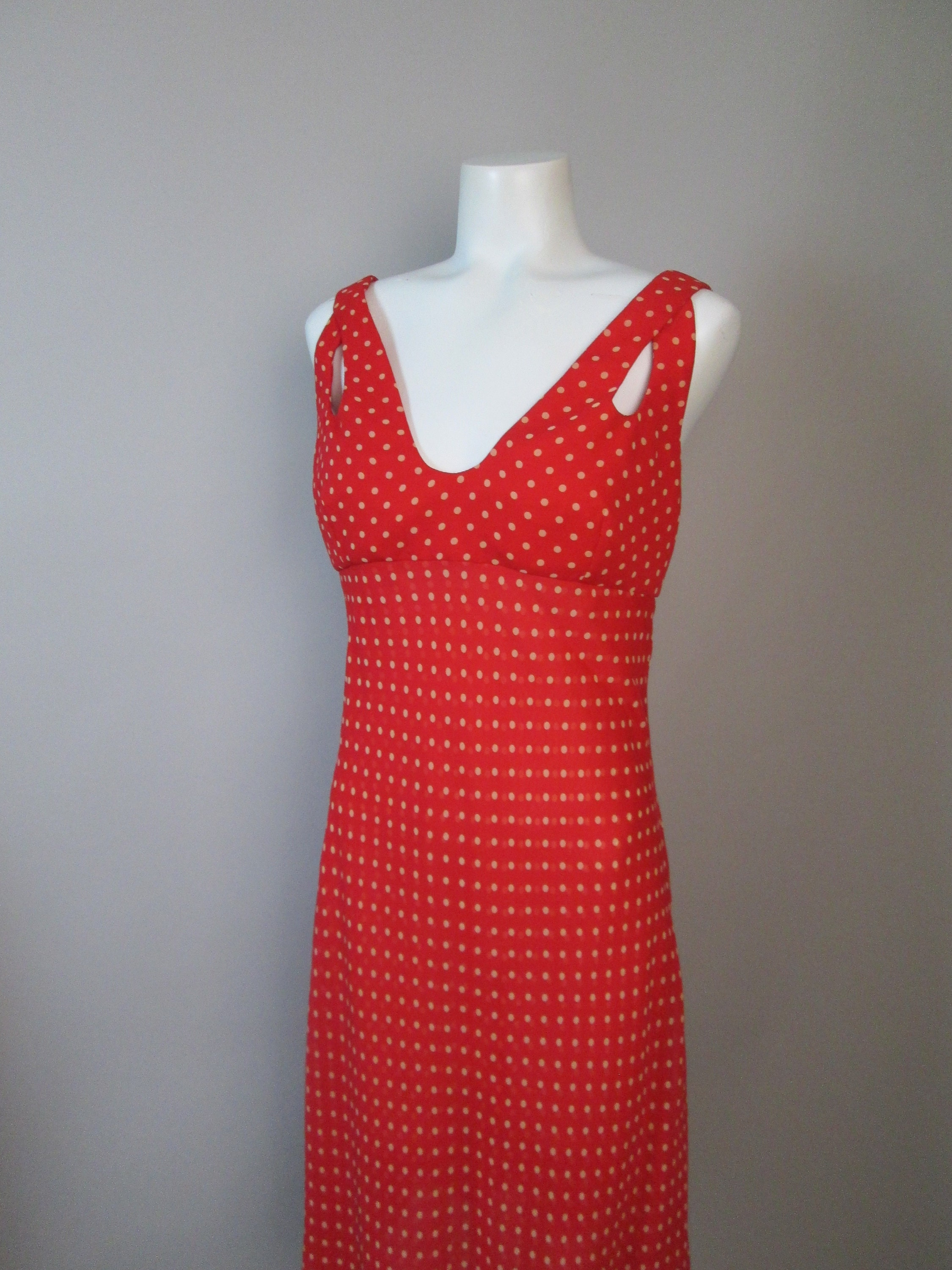 80s Dresses | Casual to Party Dresses 1980S Valentino Dress. Signature Red Silk Chiffon, Polka Dots, Cutout Bodice, Layered Slip Construction, Over Jacket With Cord Buttons. 6-8 $0.00 AT vintagedancer.com