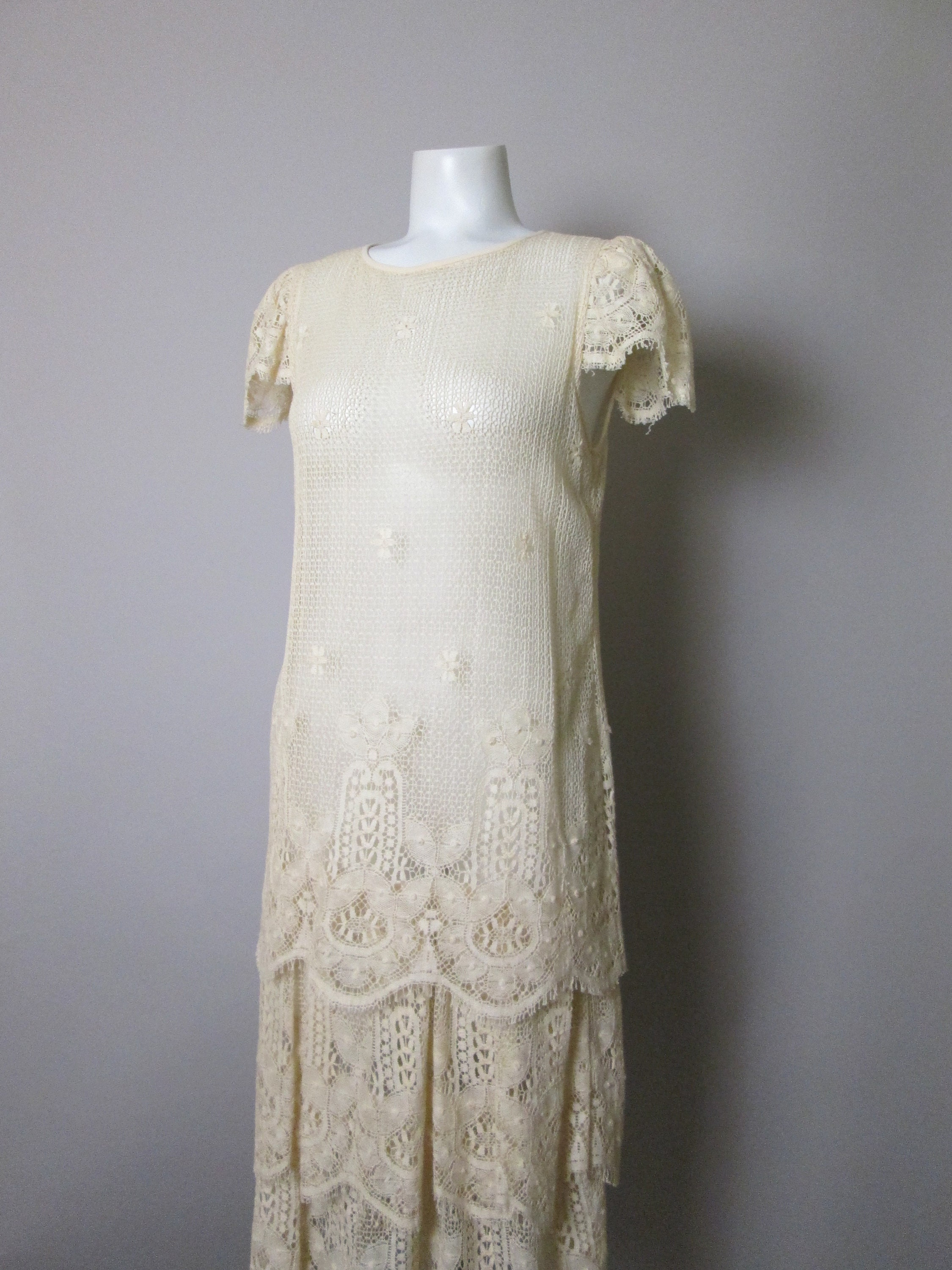 80s Dresses | Casual to Party Dresses 1920S Style Lace Flapper Dress. From 1980S, Made With Filet Lace, Cap Sleeves, Tiered Sculpted Panels, Gorgeous Vintage Chic. Size Small 6 $0.00 AT vintagedancer.com