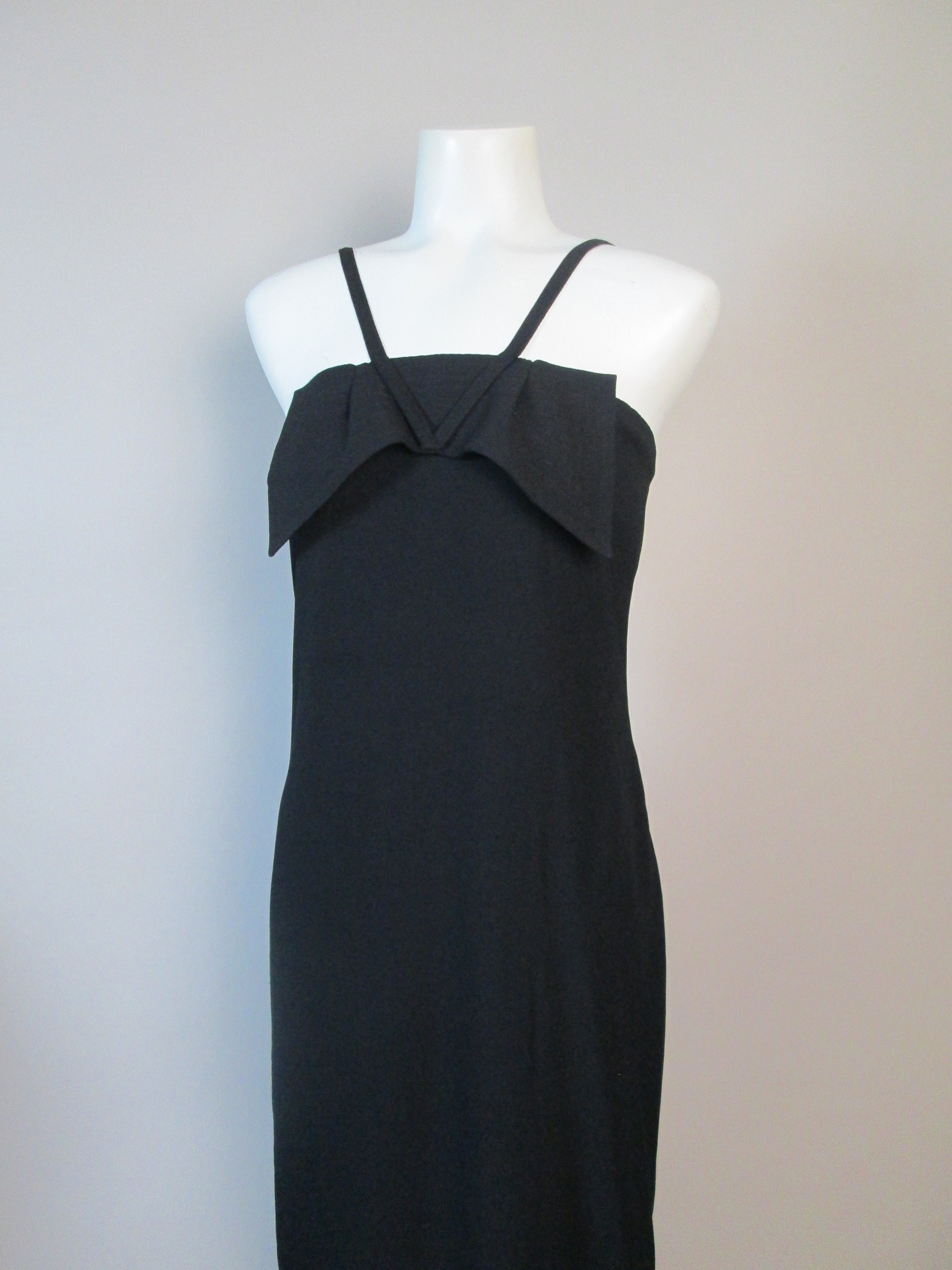 80s Dresses | Casual to Party Dresses Sonia Rykiel 1980S Flapper Dress. Minimalist Black Crepe, Large Bow Accent, Flared Straps. French Avant Garde Chic. Bust 35, Small-Medium $0.00 AT vintagedancer.com