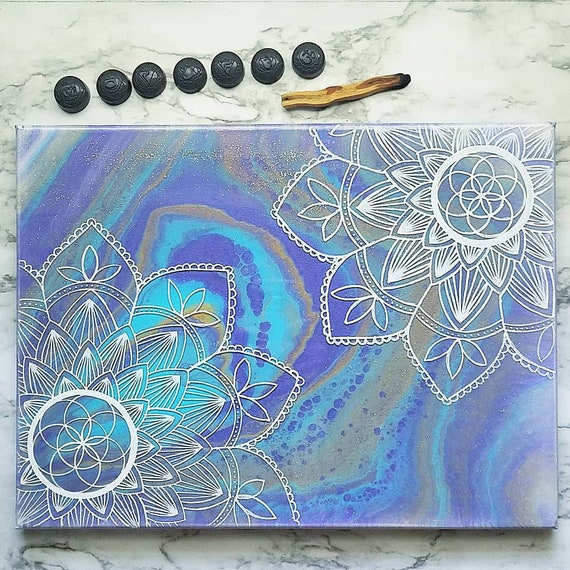 Mandala Wall Art Painting Acrylic And Resin On Canvas 12x16 Inch Canvas Painting Geode Painting Mandala Painting House Decor