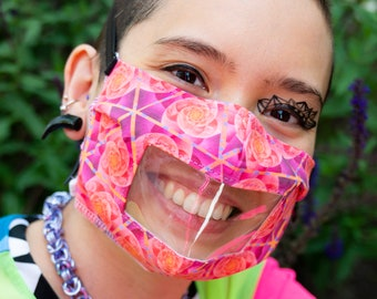 Window face mask Non-medical washable and adaptive customized closures/attachment - Source Consciousness pattern- pink, orange magenta