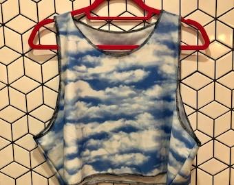 Cloud Print Crop Top- good for swimming