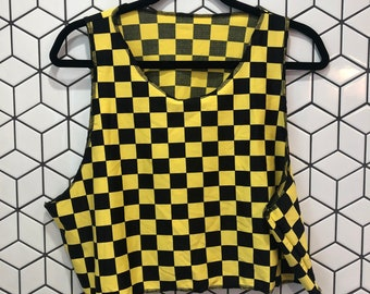 Yellow Checkerboard Crop Top- good for swimming