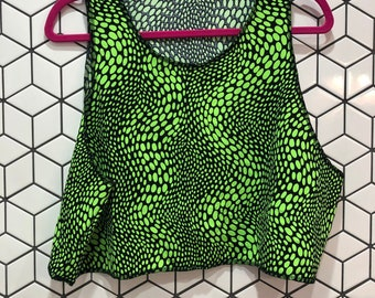 Neon Green Snake Print Crop Top- good for swimming