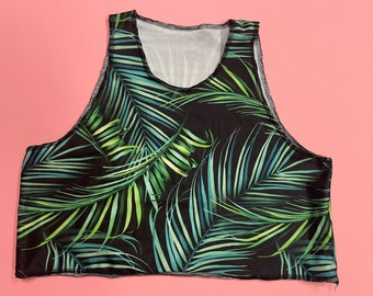 Green Tropical Leaf Print Crop Top- good for swimming