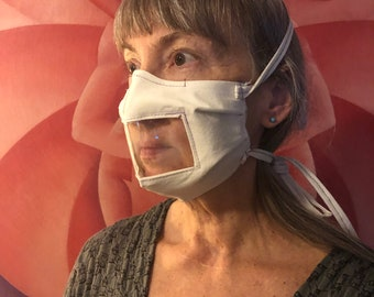 White Window face mask Non-medical washable and adaptive customized closures/attachment - Neutral for Sign Language interpreters