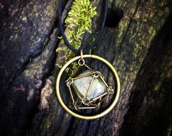Caged Pyrite Pendant Necklace