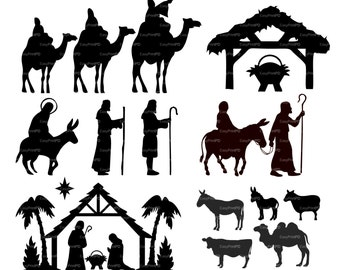 COMMERCIAL USE Nativity Christ silhouette Overlays (eps, svg, dxf, ai, jpg, png) Vector print Digital ClipArt Wall Decal Vinyl Silhouette