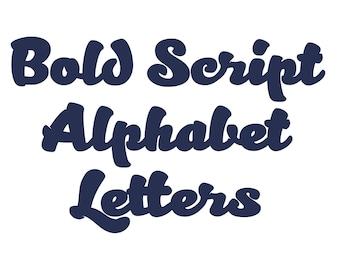 Bold Script Alphabet Letters SVG DXF Vector Cut Files Monogram Font Cuttable Vinyl Iron On Heat Press Transfer Silhouette Cricut