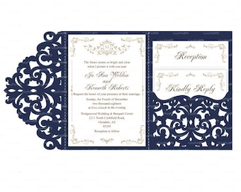 Laser Cut Wedding Invitation Template Cricut Etsy