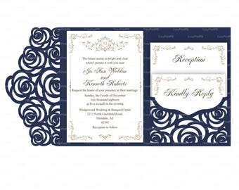 Set of Tri Fold pocket roses envelope 5x7 Wedding Invitation SVG DXF CDR Template casamento boda laser cut file Silhouette Cameo Cricut