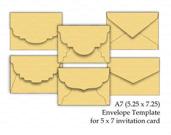 Set of 6 - A7 (5.25 x 7.25) Envelope Template for 5x7 invitation card (SVG, DXF, CRD) Laser Cut Silhouette Cameo Cricut Instant Download