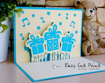 Happy Birthday 3D Gift Pop Up Card Laser Cut SVG DXF CDR Vector Silhouette Cameo Cricut Digital Instant Download