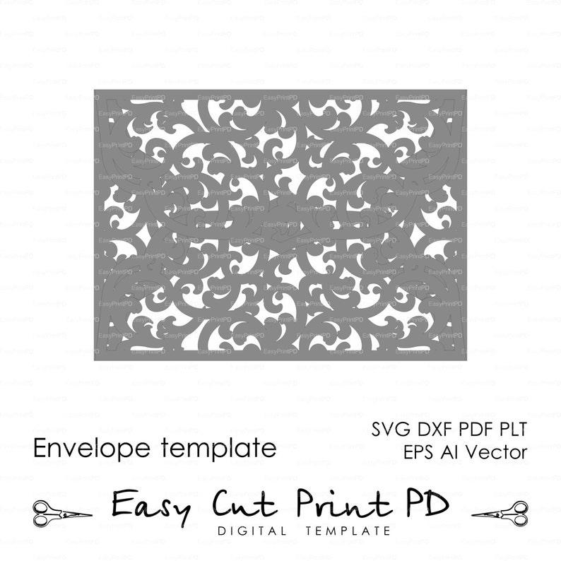 Scroll Lace Wedding Envelope Pattern Template Swirl