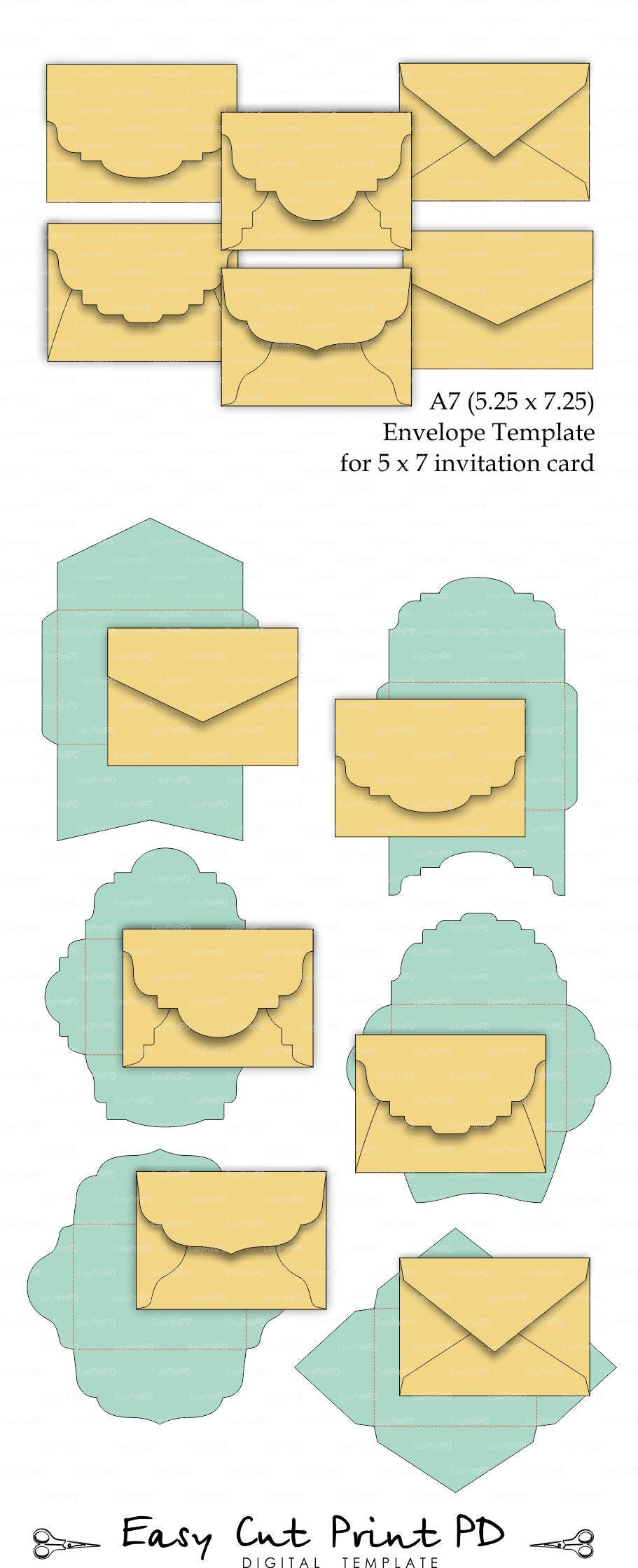 set of 6 a7 5 25 x 7 25 envelope template for 5x7 etsy