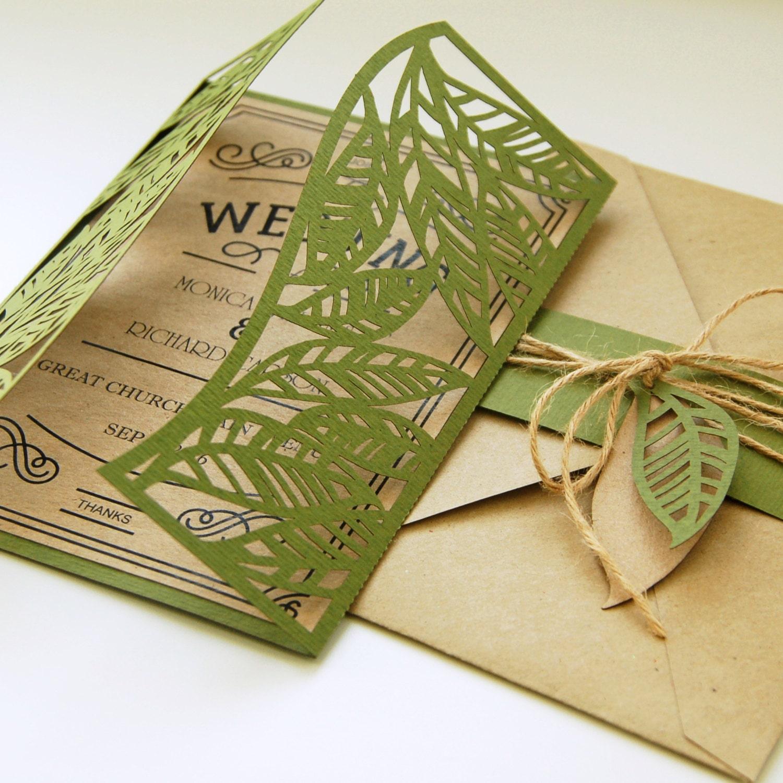 Bride Groom Leaves Leaf Rustic Botanic Eco Wedding Card Etsy