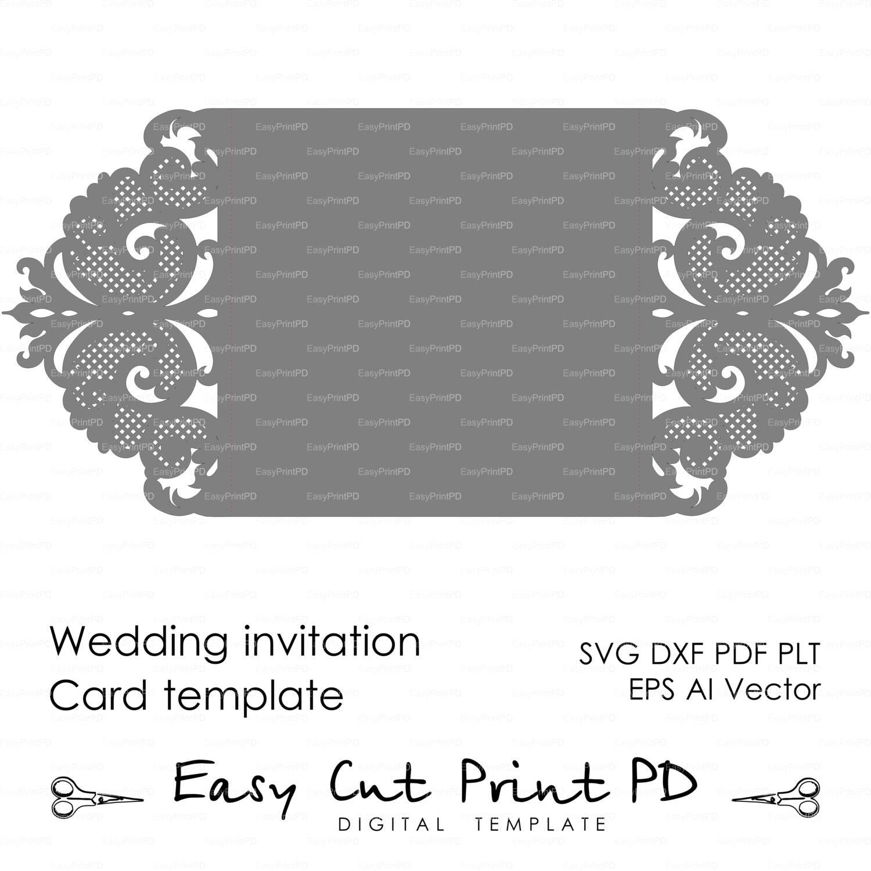 Wedding invitation Pattern Card Template Lace folds studio | Etsy