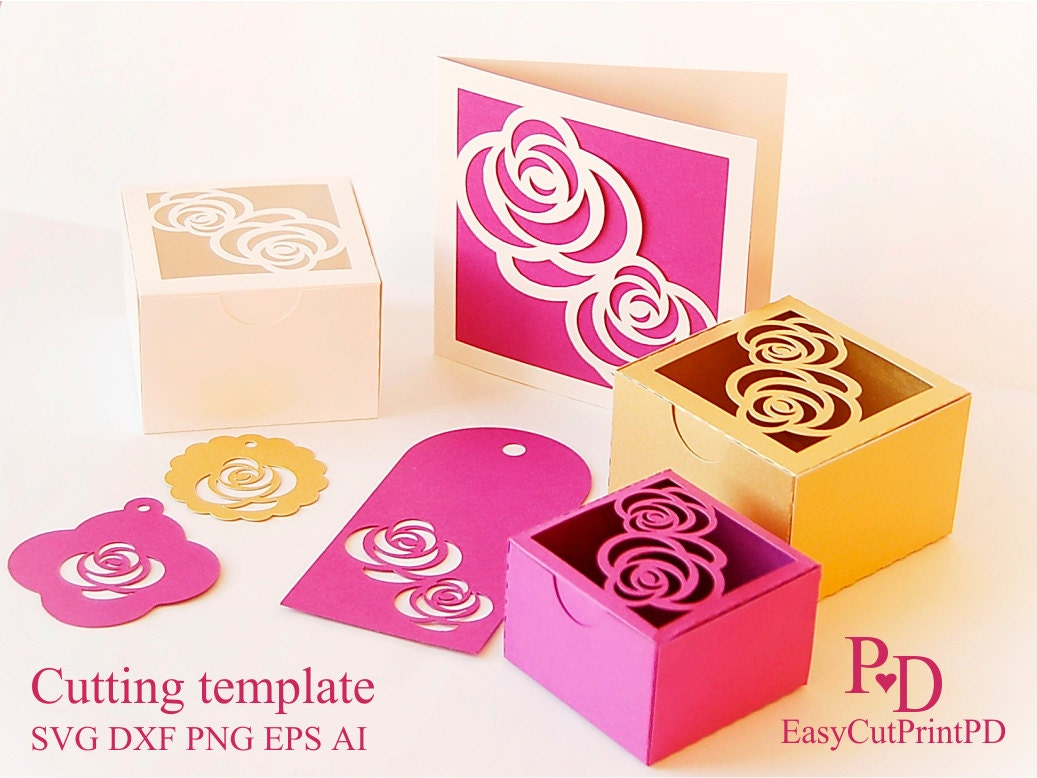 Rose Gift set Favors box card and 3 tags template Studio   Etsy