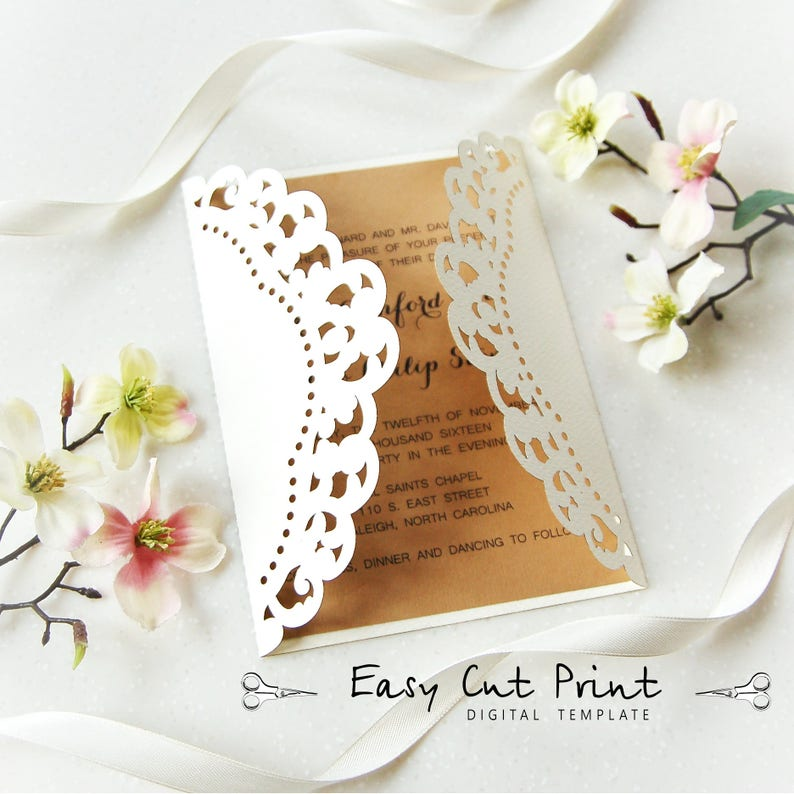 Rustic Wedding Invitation Vintage Card Template Dolly Lace Etsy