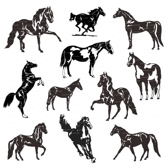 Horses Silhouette Eps Svg Dxf Ai Jpg Png Vector Digital Etsy