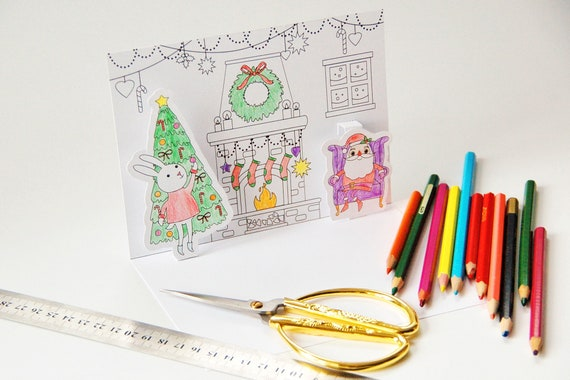 Printable Coloring Template Diy Christmas Pop Up Card Etsy