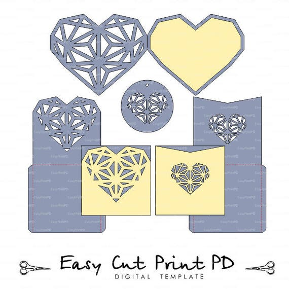 Laser Cut Templates Geometric Heart Invitation Card Cutting Files Svg Dxf Eps Cdr Vector Silhouette Cameo Cricut Instant Download