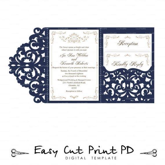 wedding invitation set of tri fold lace pocket envelope 5x7 etsy
