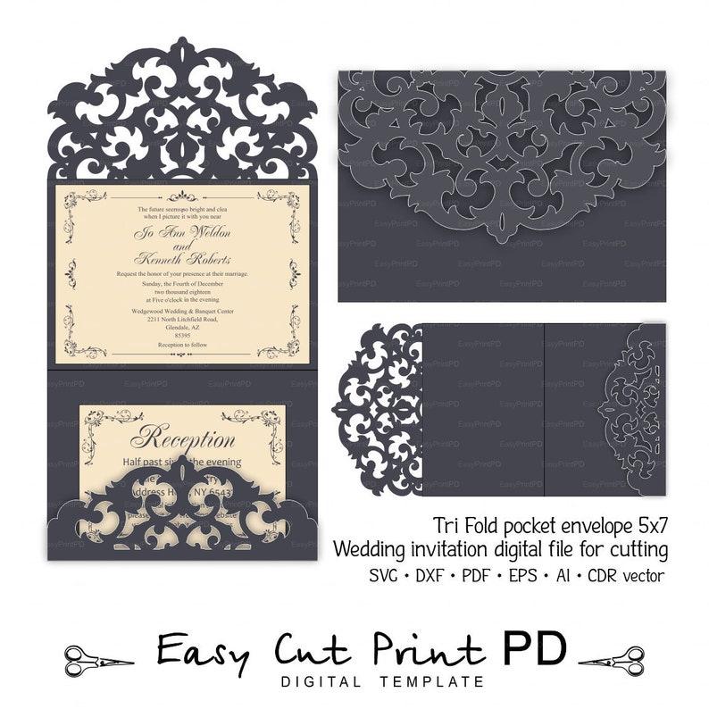 Tri Fold pocket envelope 5x7 Invitation wedding Card template | Etsy