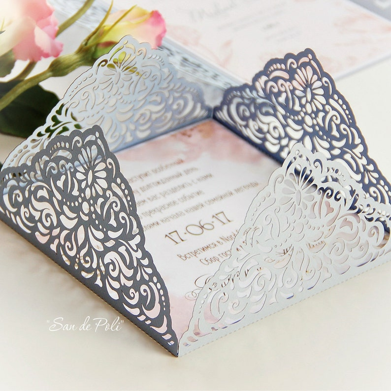 Wedding Invitation Card Template Four Fold Filigree Envelope Etsy