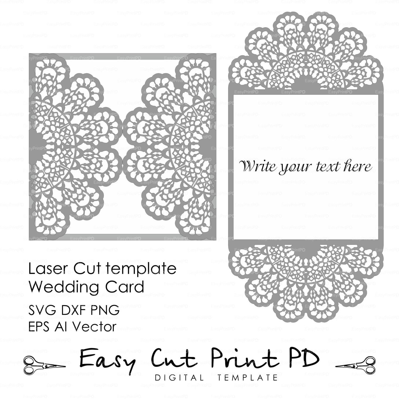 Wedding invitation Lace crochet doily Pattern Card Template | Etsy