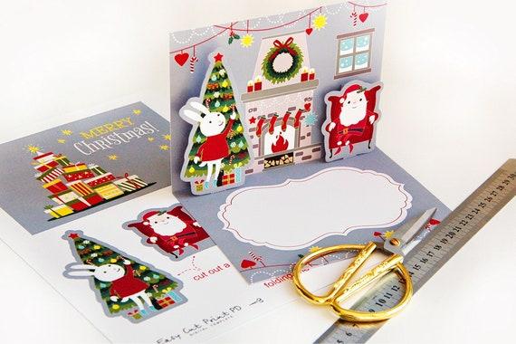 Printable template Christmas Pop Up Card illustration ...