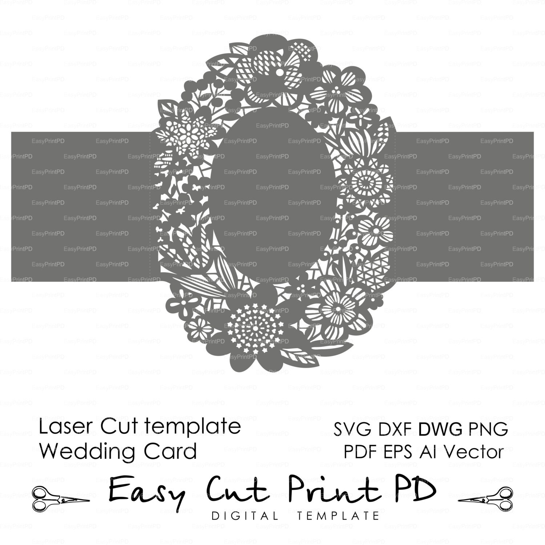 Floral wreath lace Wedding invitation Pattern Card 5x7 | Etsy