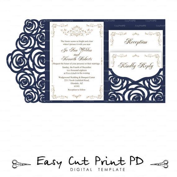 set of tri fold pocket roses envelope 5x7 wedding invitation etsy