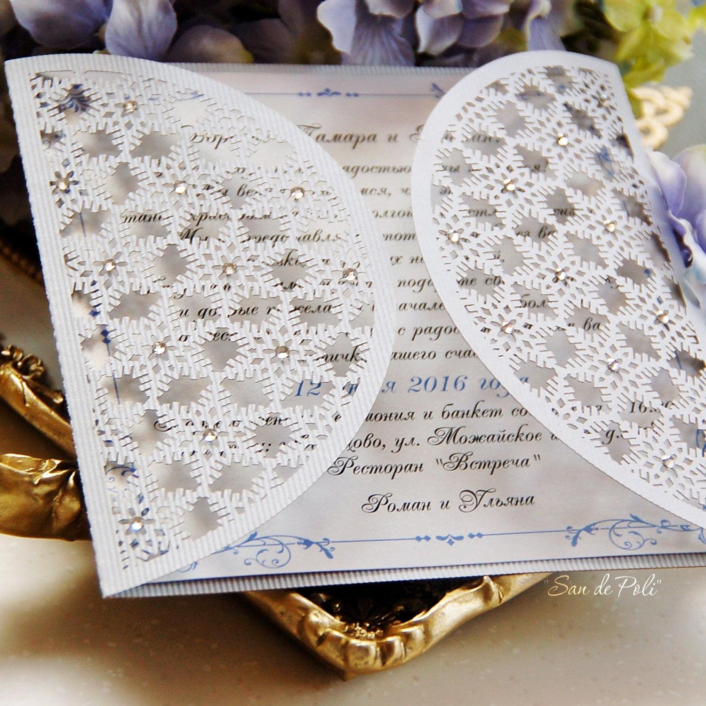 Sale 50% Snowflake winter wedding card COVER Invitation 5x5 | Etsy