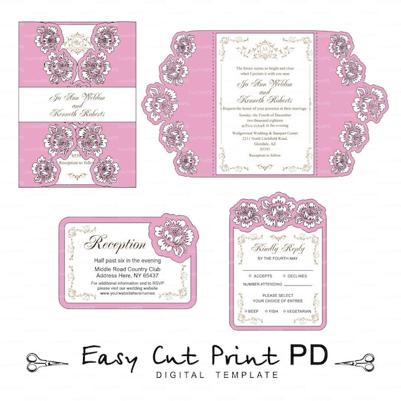Set Of 3 Flowers Wedding Invitations Cards Template Cutting File Svg Dxf Cdr Vector Boda Laser Cut Pattern Instant Download Cameo Cricut