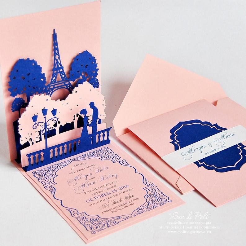 popup wedding invitations lovers of paris eiffel tower