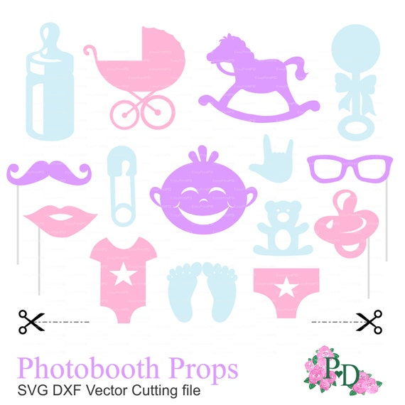 Photo Booth Props Baby Shower Party Svg Dxf Png File Etsy