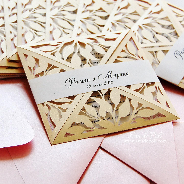 Leaves Leaf Laser cut Rustic Wedding invitation Pattern | Etsy